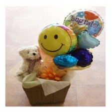 Teddy & Balloons in Basket