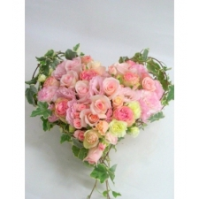 24 Pink & Yellow Roses Heart Basket