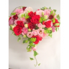 35 Red & Pink Roses Heart Basket