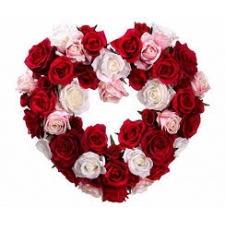 35 Mixed Roses Heart Basket
