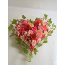 24 Mixed Color Roses Heart Basket