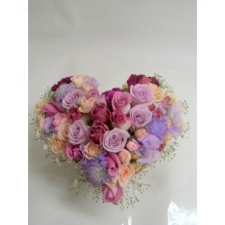 24 Mixed Roses in heart shape