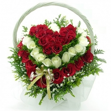 35 Red and White Heart Shape Rose Basket