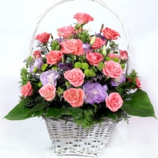 24 Pink Roses with Greenery Fillers in a Basket