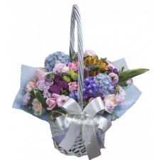 12 Pink Roses with Greenery Fillers in Basket