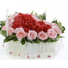 35 Red and Pink Roses in Basket