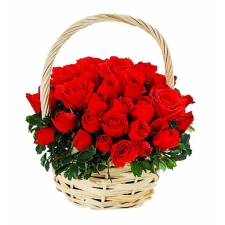24 Red Roses in Basket