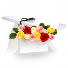 12 Mixed Color Roses in Box