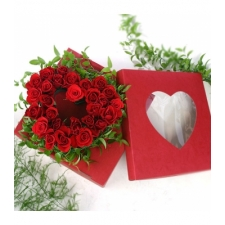 24 Heart shape Red Rose Box