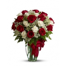 24 Red and White Roses in Vase