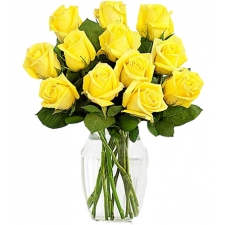 ​12 Yellow Roses in vase