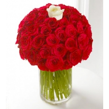 36 Red and White Roses in vase