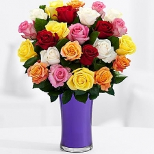 24 Mixed Color Roses in Vase