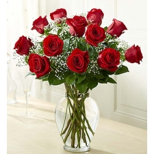 12 Valentine Red Roses in vase