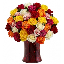 36 Mixed Color Roses in Vase