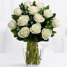 12 Premium Long Stem white Roses in vase