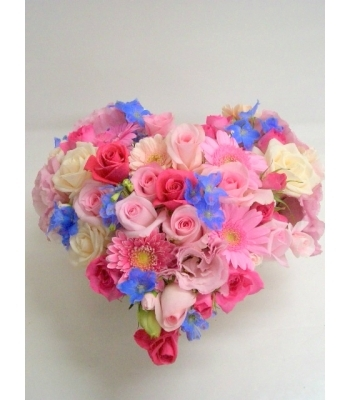 24 Mixed Roses & Gerbera Flowers Heart Basket